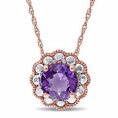 Womens 17 Inch Purple Amethyst 10K Gold Link Necklace