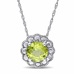 Womens 17 Inch Green Peridot 10K Gold Link Necklace