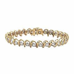 Womens 4 CT. T.W. White Diamond 10K Gold Tennis Bracelet