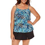 Jamaica Bay® Muted Reptile Triple-Tier Swim Top or Side-Slit Swim Skirt