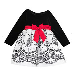 Rare Editions Long Sleeve Party Dress - Toddler Girls