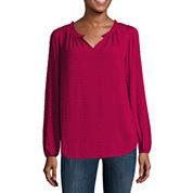 Liz Claiborne® Long-Sleeve Splitneck Peasant Top