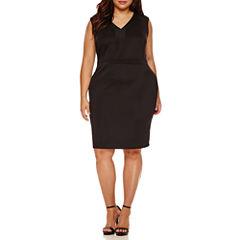 Boutique+ Sleeveless Illusion Bodycon Dress - Plus