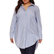 Boutique+ Long-Sleeve Button-Front Tunic Shirt - Plus