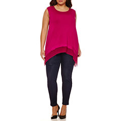 Boutique+ Sheer Hem Tank Top or High-Rise Skinny Jeans - Plus
