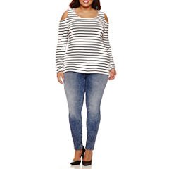 Boutique+ Cold-Shoulder Knit Top or High-Rise Skinny Jeans - Plus