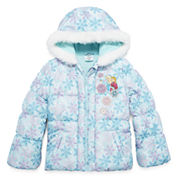 Disney Girls Frozen Midweight Puffer Jacket-Big Kid