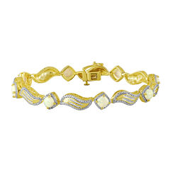Diamond-Accent and Lab-Created Opal 14K Yellow Gold Over Sterling Silver Bracelet