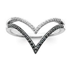 1/5 CT. T.W. White & Color-Enhanced Black Diamond 10K White Gold Chevron Ring