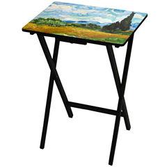 Oriental Furniture Van Gogh Wheat Fields TV Tray Table