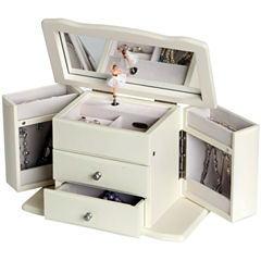 White Musical Ballerina Jewelry Box