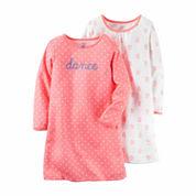 Carter's® 2-pk. Peach Floral Long-Sleeve Gowns - Toddler Girls 2t-5t