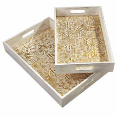 Distressed Gold Arrow Tray- Set of 2