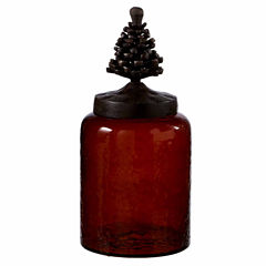 Large Dark Amber Pinecone Canister