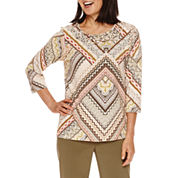 Alfred Dunner® Cactus Ranch  3/4 Sleeve Print Top