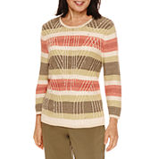 Alfred Dunner® Cactus Ranch  3/4 Sleeve Stripe Sweater