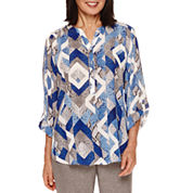 Alfred Dunner® Crescent City  Long Sleeve  Geo Print Blouse
