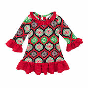 Rare Editions Long Sleeve A-Line Dress - Toddler