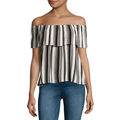 Fire Off-the-Shoulder Crepe Top - Juniors