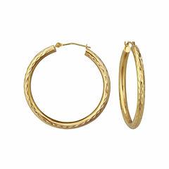 18K Yellow Gold 30mm Diamond-Cut Hoop Earrings