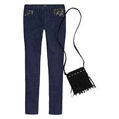 Squeeze Sequin Pocket Jeggings With Royal Blue Faux Suede Crossover Bag - Girls 7-14