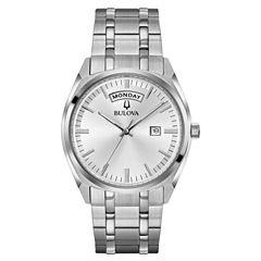 Bulova Mens Silver Tone Bracelet Watch-96c127