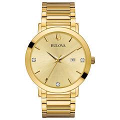 Bulova Mens Gold Tone Bracelet Watch-97d115