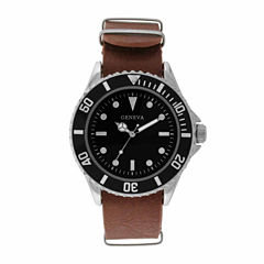 Geneva Mens Brown Strap Watch