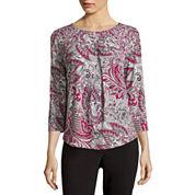 Liz Claiborne® 3/4-Sleeve Pleated Top