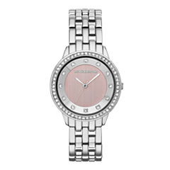 Liz Claiborne® Womens Pink Crystal-Accent Bracelet Watch