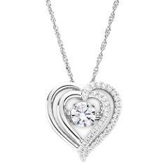 DiamonArt® Dancing Cubic Zirconia Sterling Silver Heart Pendant Necklace