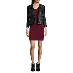 Decree® Pleather Moto Jacket or Lace Inset Dress