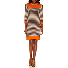 Jessica Howard 3/4 Sleeve Sweater Dress with Pockets