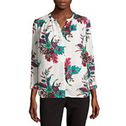 Liz Claiborne® Long-Sleeve Button-Front Soft Blouse