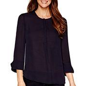 Liz Claiborne® 3/4-Sleeve Split-Cuff Blouse