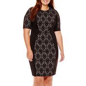 Bisou Bisou® Short-Sleeve Jacquard Sheath Dress - Plus