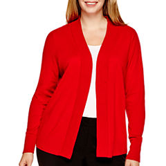 Worthington® Essential Long-Sleeve Open-Front Cardigan Sweater - Plus