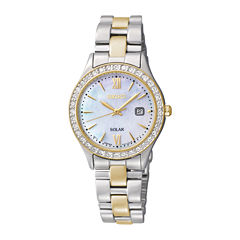 Seiko® Womens Crystal-Accent Two-Tone Stainless Steel Solar Watch SUT074
