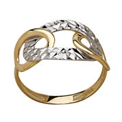 LIMITED QUANTITIES! 10K Two-Tone Gold Polished Diamond-Cut Interlocking Oval Ring