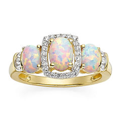 Lab-Created Opal and Lab-Created White Sapphire 14K Yellow Gold Over Sterling Silver Ring