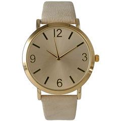 Olivia Pratt Womens Brown Strap Watch-26268bcream