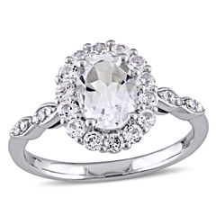 Womens Diamond Accent White Topaz 14K Gold Cocktail Ring