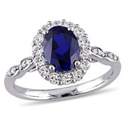 Womens Diamond Accent Blue Sapphire 14K Gold Cocktail Ring