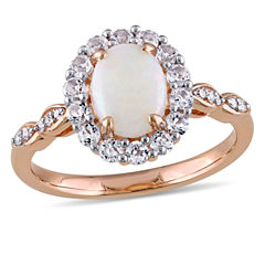 Womens Diamond Accent Pink Opal 14K Gold Cocktail Ring