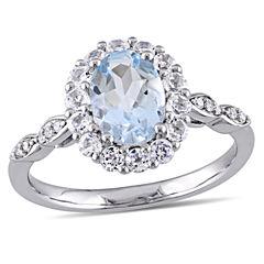 Womens Diamond Accent Blue Aquamarine 14K Gold Cocktail Ring