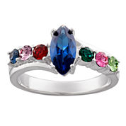 Personalized Silver Cubic Zirconia & Crystal Marquis Birthstone Ring
