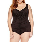 Azul by Maxine of Hollywood Solid One Piece Swimsuit -Plus