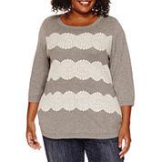 St. John`s Bay Long Sleeve Crew Neck Pullover Sweater-Plus