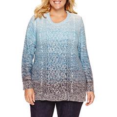 St. John's Bay Long Sleeve Crew Neck Layered Sweaters-Plus