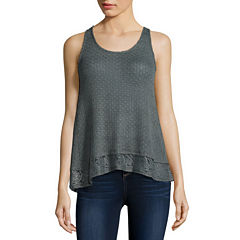 Eyeshadow Lace-Hem Tank Top - Juniors